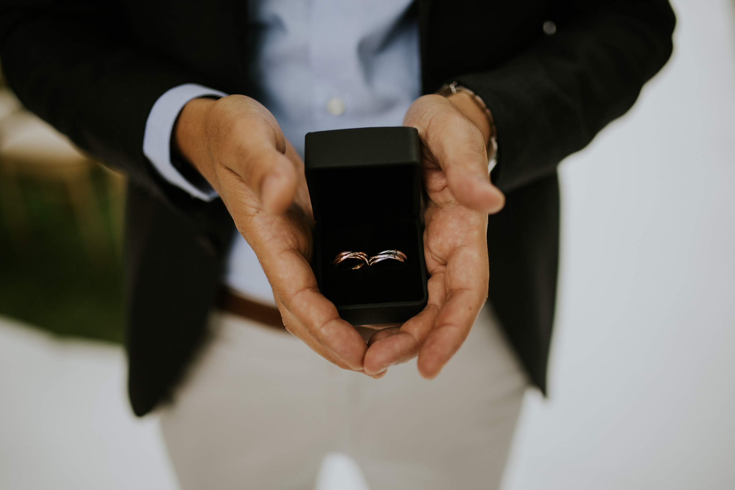 closeup of the weeding ring on their box