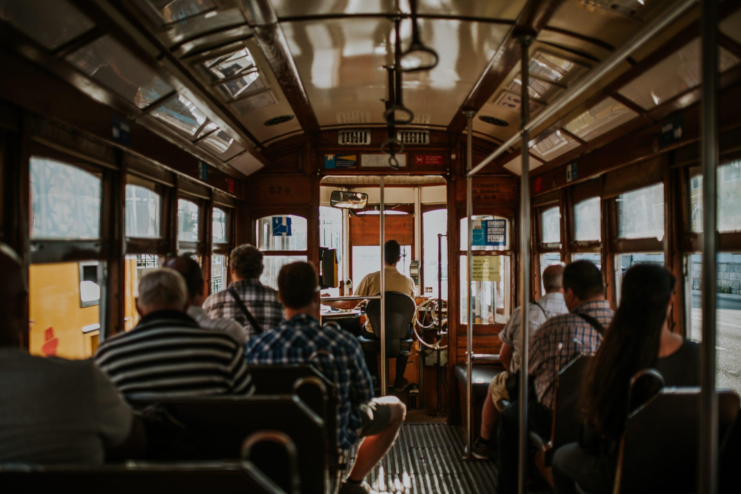 inside tram view in lisbon