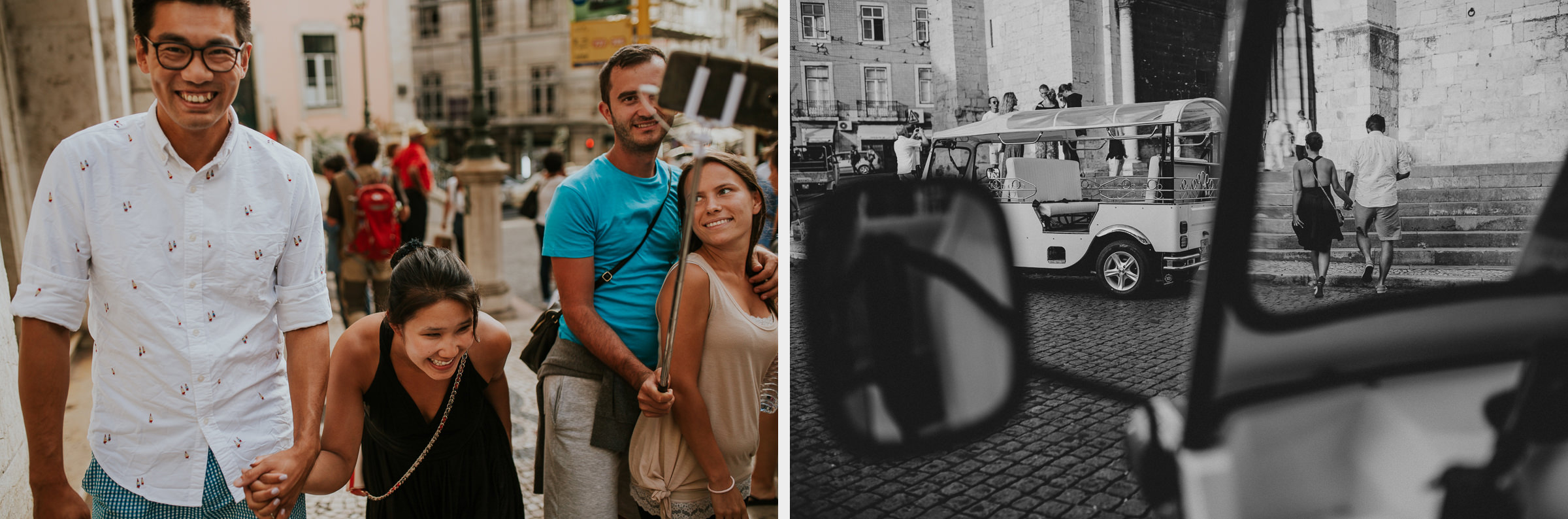 two photo montage of a happy asian couple in lisbon streets