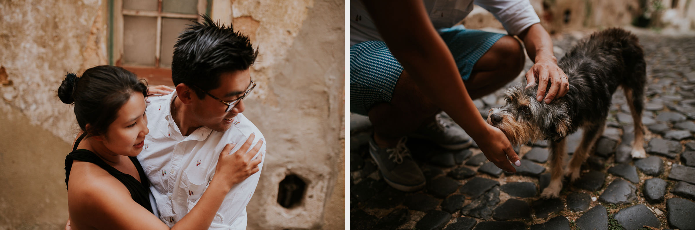 two photo montage of a asian couple in lisbon streets cuddling a dog