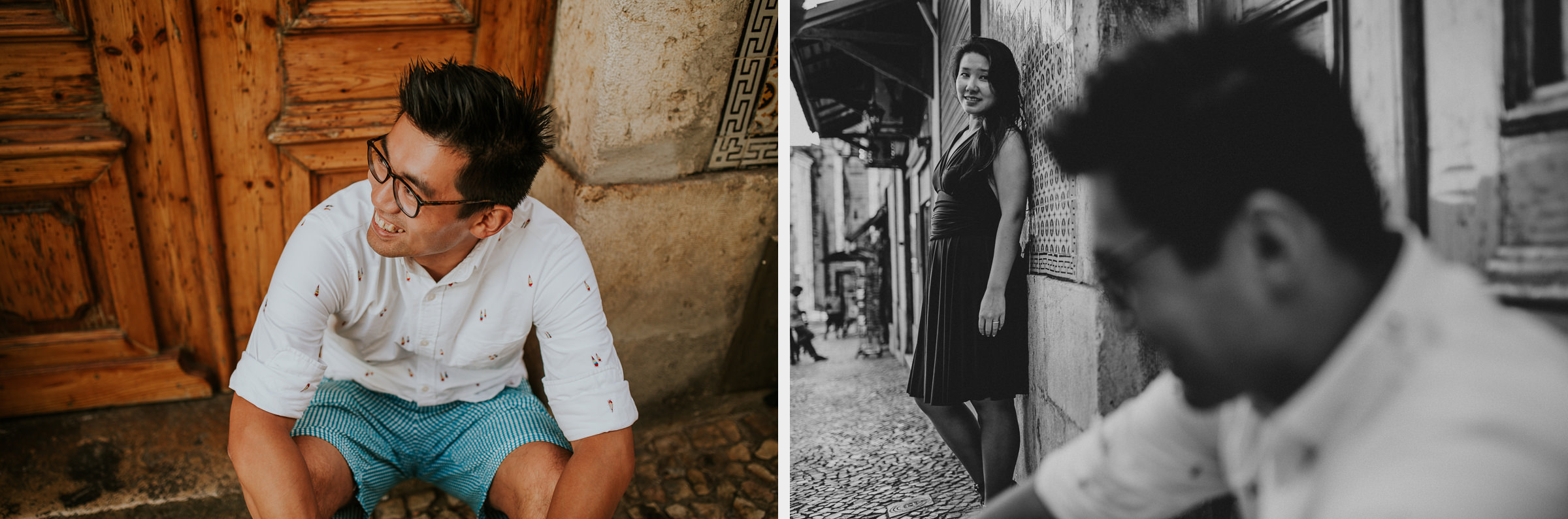 two photo montage of a asian couple in lisbon streets