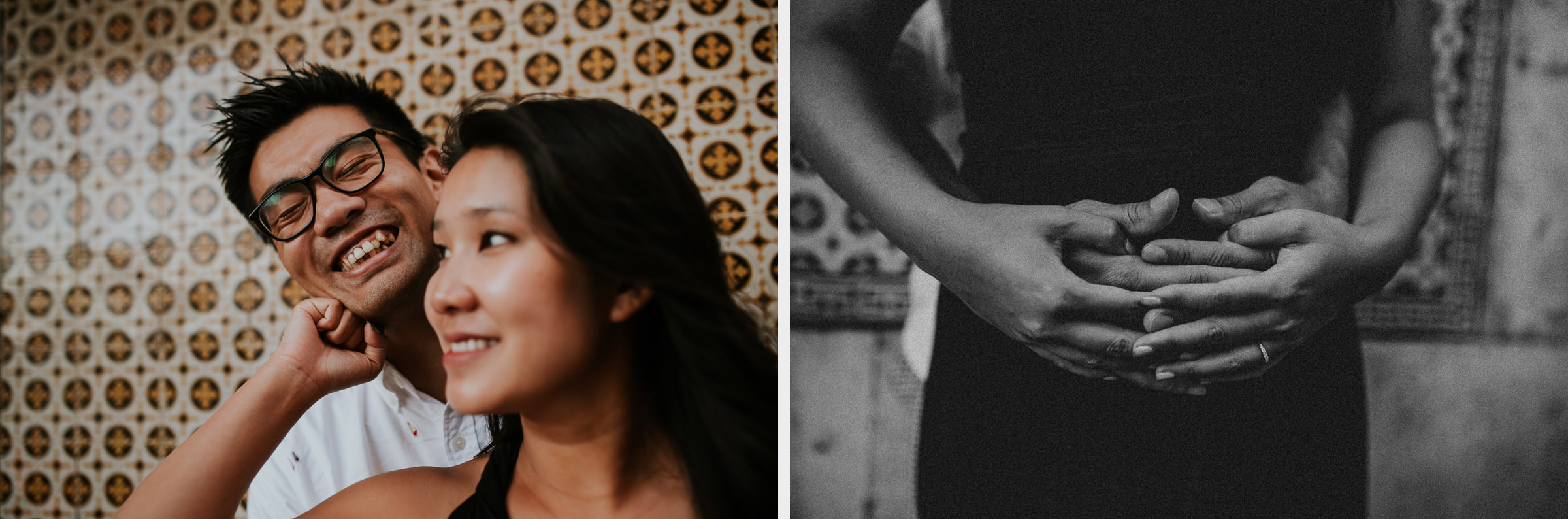two photo montage of a asian couple in lisbon streets with tiles in background