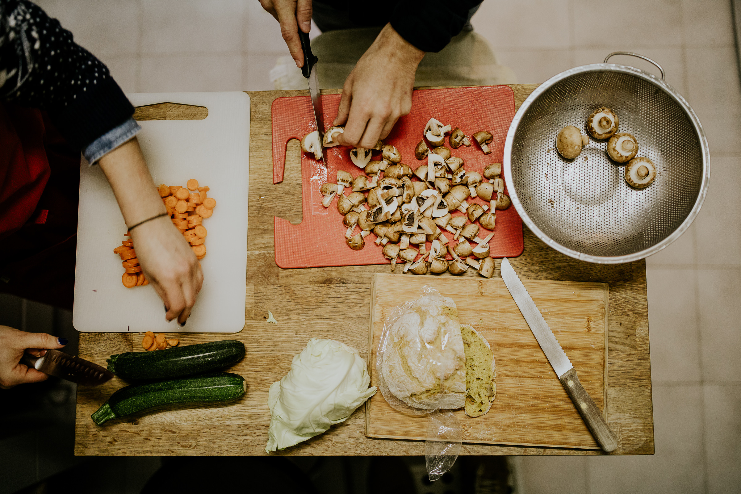 cutting mushrooms and preparing the dinner at home
