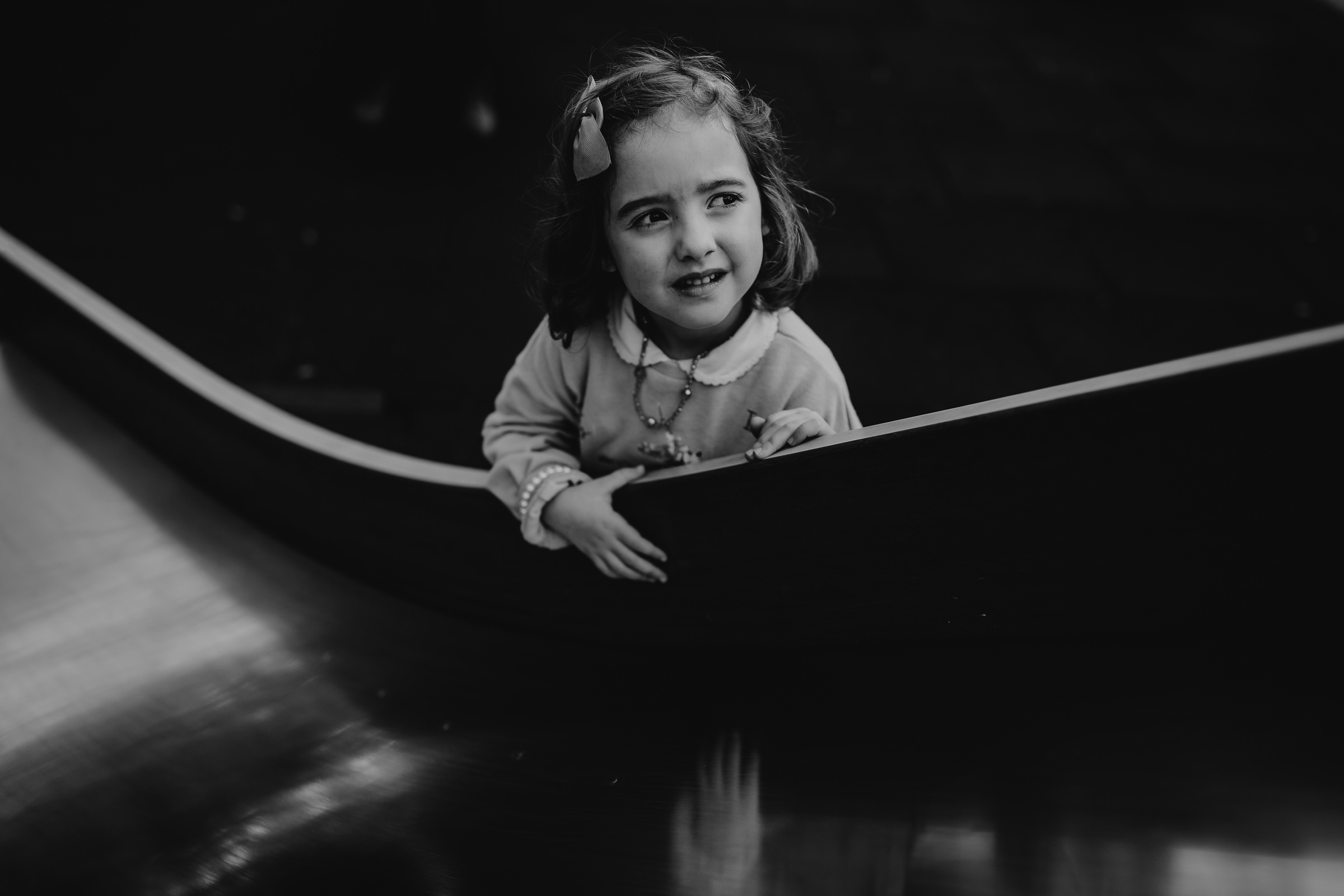 black and white portrait of a little girl look somewhere