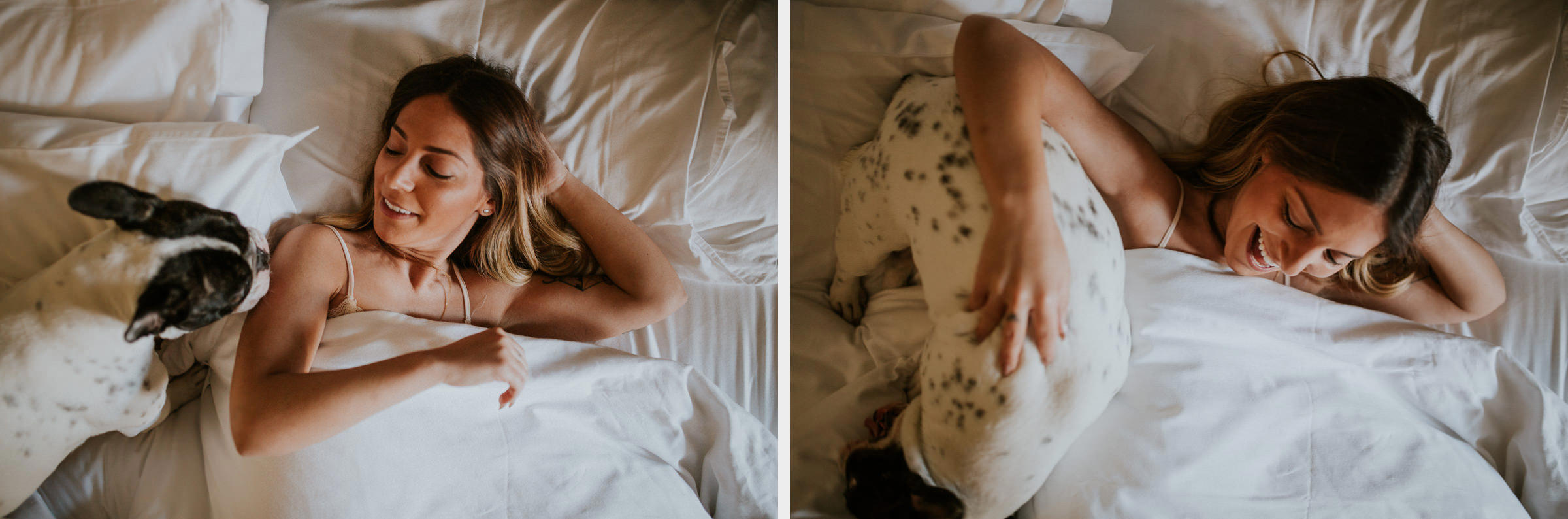 two photo montage of a girl on her bed having fun with her french bulldog