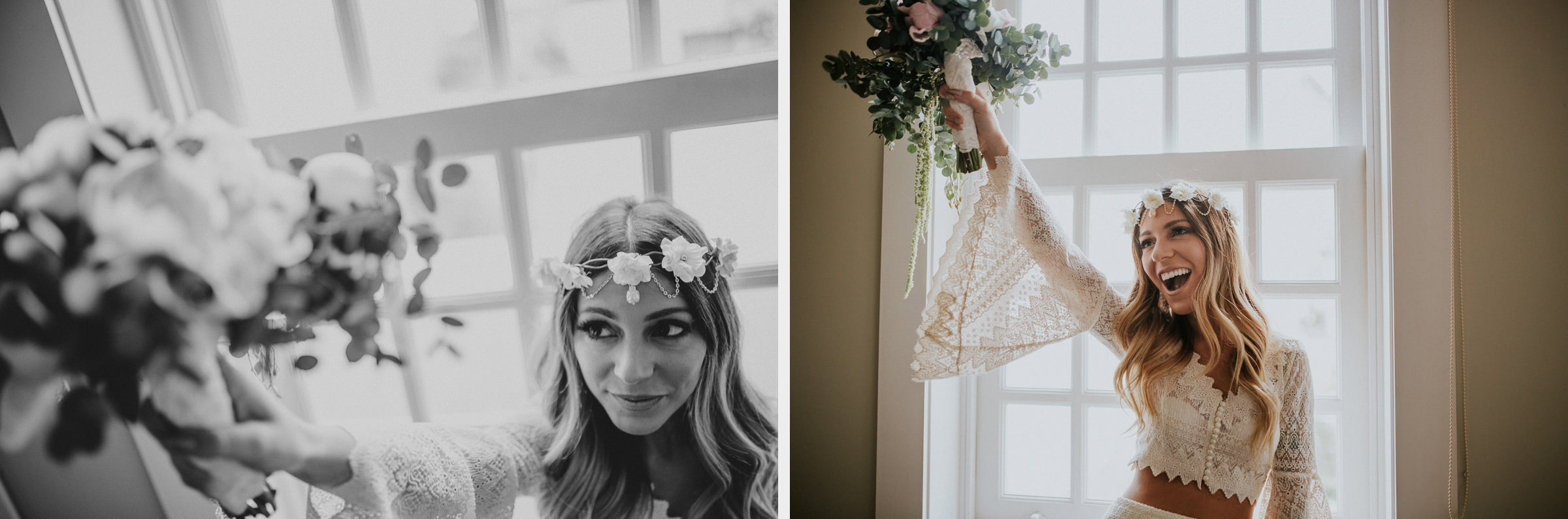 boho chic bride and her bouquet