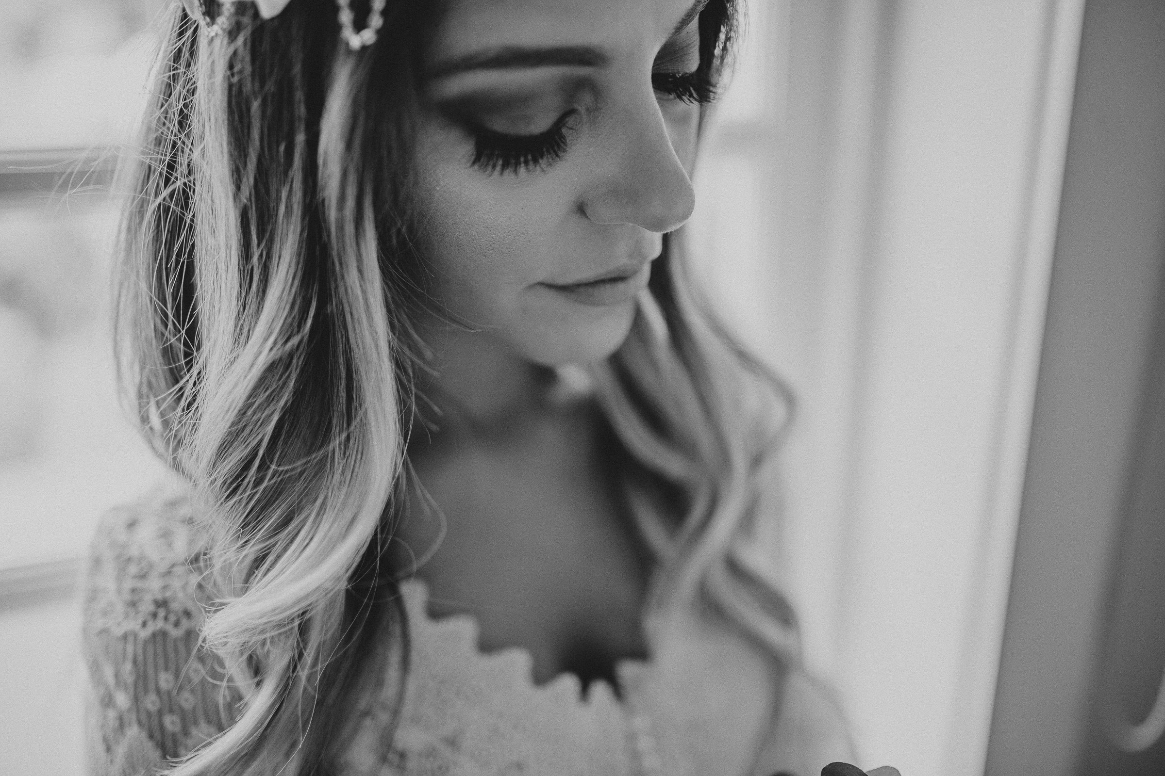 black and white portrait of a boho chic bride