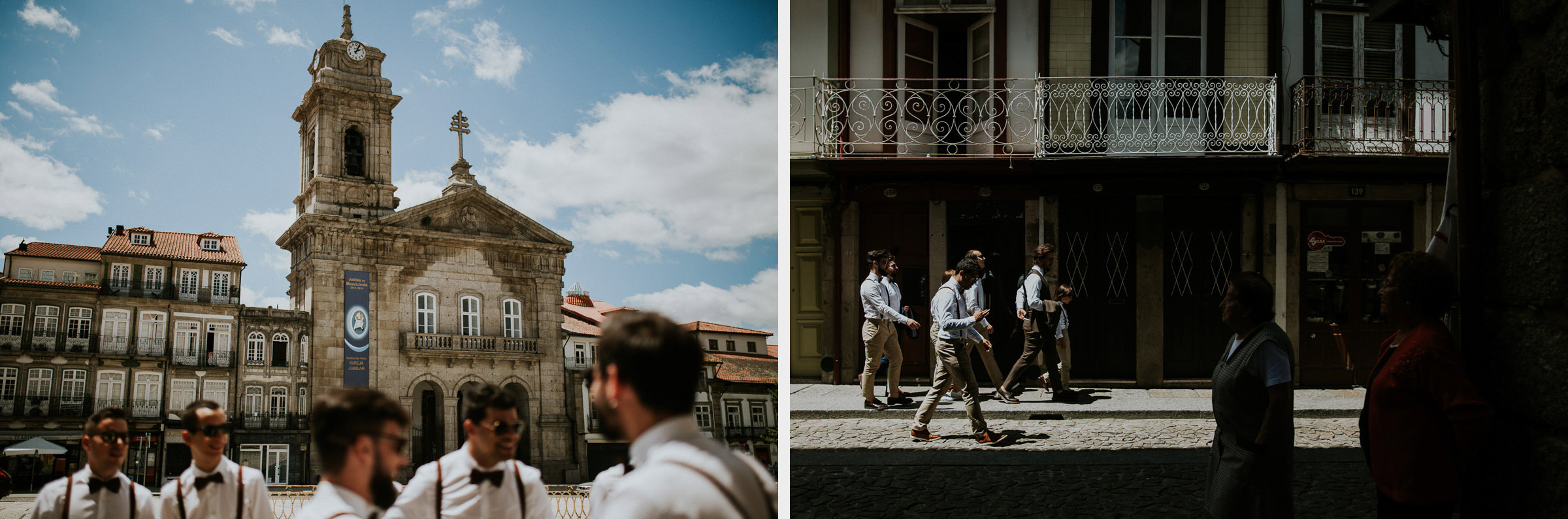 two photo montage of boho chic groom and bestmen walking in the city streets