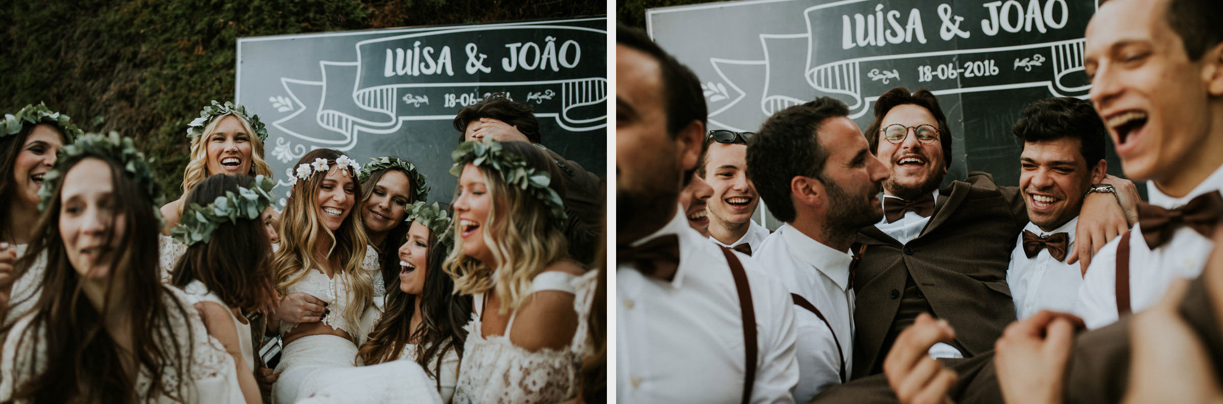 two photo montage of happy bride and groom rounded by their friends in their wedding