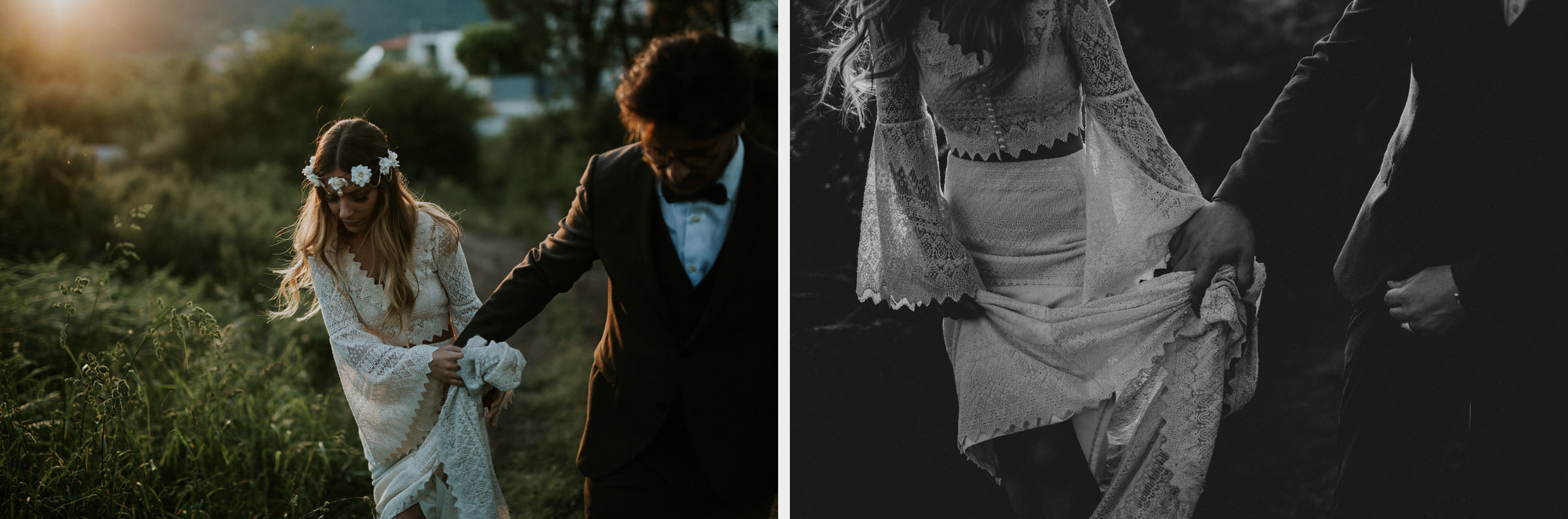 two photo montage of boho chic bride and groom session during their wedding day in the woods on the sunset