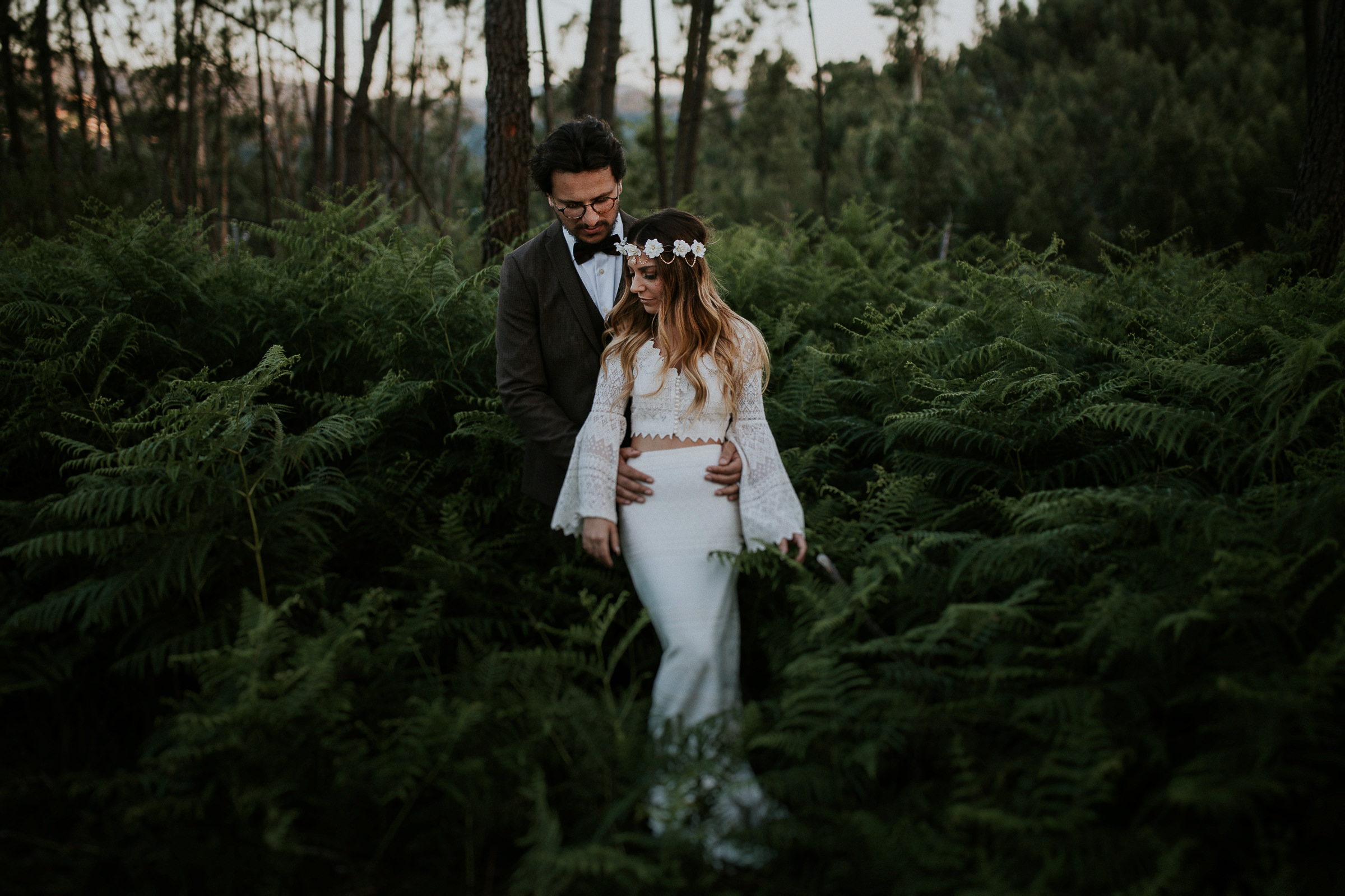 boho chic bride and groom in their wedding session
