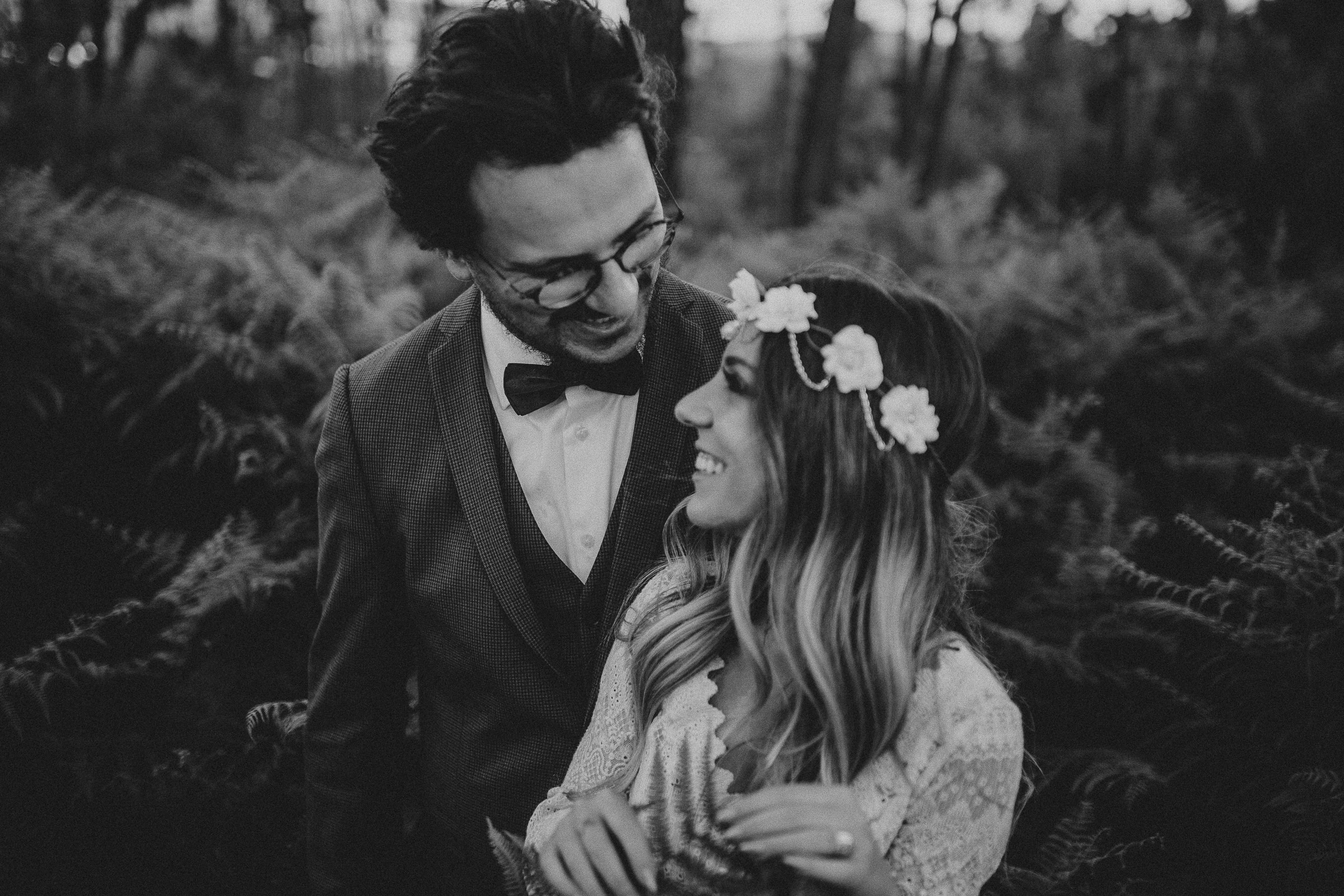 black and white photo of bride and groom boho chic