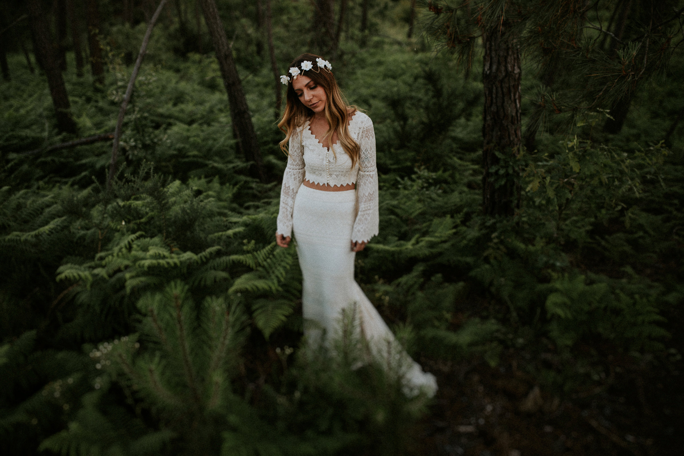 bride alone in the woods