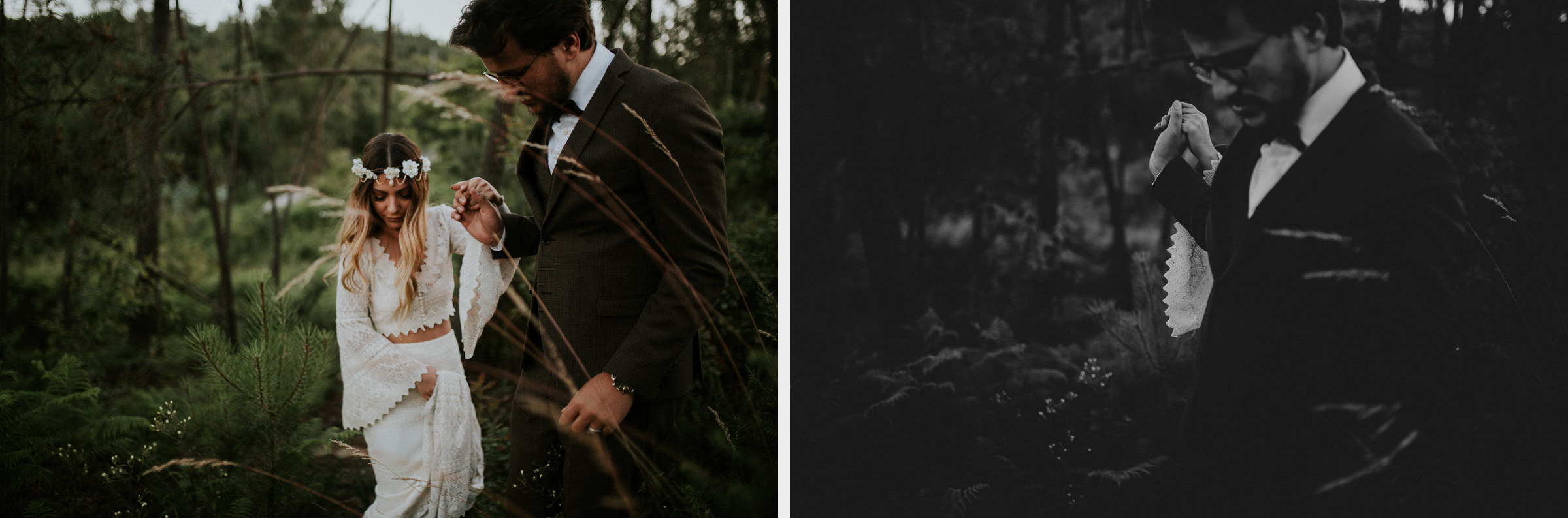 two photo montage of bride and groom session in the woods